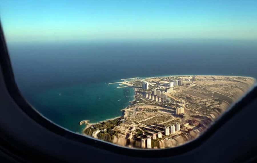 نمایی از جزیره کیش در هواپیما
